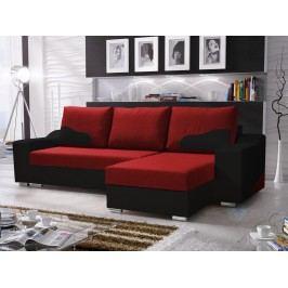 Smartshop Rohová sedačka WILLIAM 250/1, červená látka/černá ekokůže