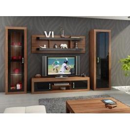 Obývací stěna VERIN 4, švestka wallis/černý lesk