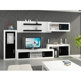 Obývací stěna VERIN 5, bílá/černý lesk
