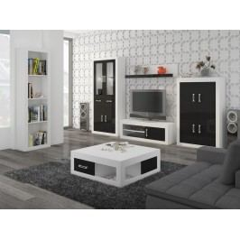 Obývací stěna VERIN 10, bílá/černý lesk