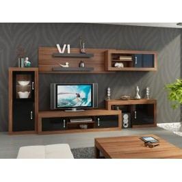 Obývací stěna VERIN 5, švestka wallis/černý lesk