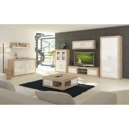 Obývací stěna VERIN 9, dub sonoma/bílý lesk