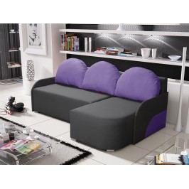 Rohová sedačka KRIS 5 pravá, šedá/fialová