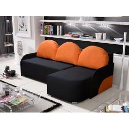 Rohová sedačka KRIS 6 pravá, černá/oranžová