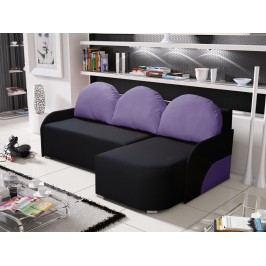 Rohová sedačka KRIS 7 pravá, černá/fialová