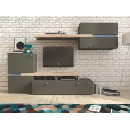 JET obývací stěna, grafit/dub sonoma