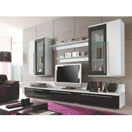 Smartshop KALISTO 2 obývací stěna, bílá/černý lesk