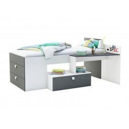 MOWE postel 90x200 cm, bílá/grafit