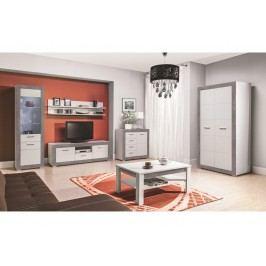 TWIN, obývací pokoj - vzorová sestava, bílá/šedá