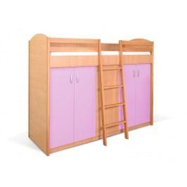 MATIS Patrová postel se skříní K2ORM, buk/růžová
