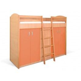 MATIS Patrová postel se skříní K2ORM, buk/oranžová