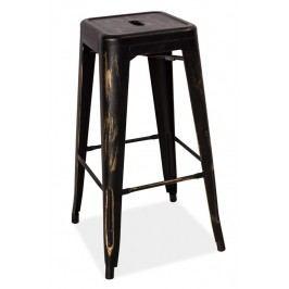 Barová kovová židle LONG, černá přetíraná