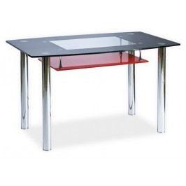 Jídelní stůl TWIST A červená polička, kov/sklo