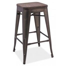 Barová kovová židle LONG II, grafit/tm.ořech