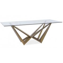 Jídelní stůl ASTON, sklo/hnědá