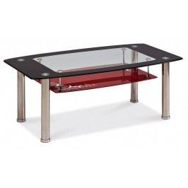 Konferenční stolek TWIST C červená polička, kov/sklo
