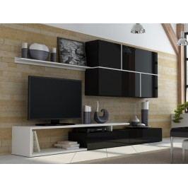 GOYA, obývací stěna, černý lesk/bílý mat