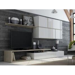 GOYA, obývací stěna, bílý lesk/dub sonoma