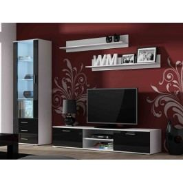 CAMA SOHO, obývací pokoj - sestava 1, bílý mat/černý lesk