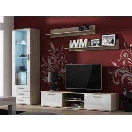 SOHO, obývací pokoj - sestava 1, dub sonoma/bílý lesk