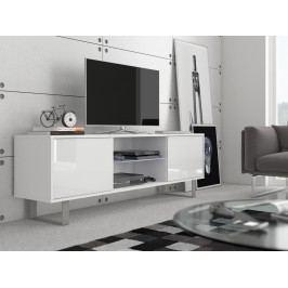 MORAVIA FLAT KING 2 TV stolek, bílá/bílý lesk