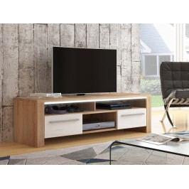 MORAVIA FLAT ROCKY televizní stolek, dub sonoma/bílý lesk