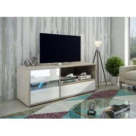 MORAVIA FLAT GLOBAL 1 televizní stolek, dub sonoma/bílý lesk