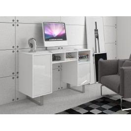 MORAVIA FLAT KING 9 psací stůl, bílá/bílý lesk