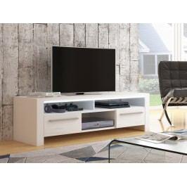 MORAVIA FLAT ROCKY televizní stolek, bílá/bílý lesk