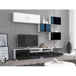 KUGA obývací stěna, bílá/černý lesk