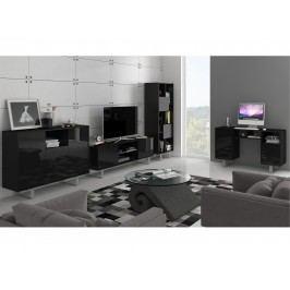 KING obývací pokoj - sestava 2, černá/černý lesk
