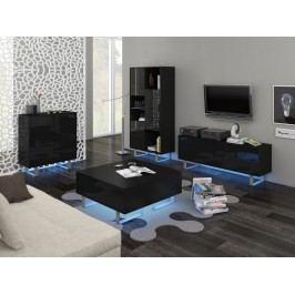 MORAVIA FLAT KING obývací pokoj - sestava 1, černá/černý lesk