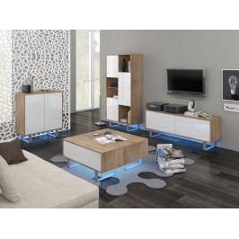 KING obývací pokoj - sestava 1, dub sonoma/bílý lesk