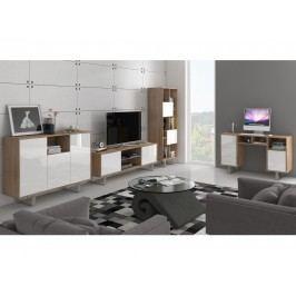 MORAVIA FLAT KING obývací pokoj - sestava 2, dub sonoma/bílý lesk