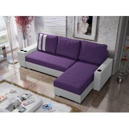 Rohová sedačka ROY 3-246 pravá, fialová látka/bílá ekokůže