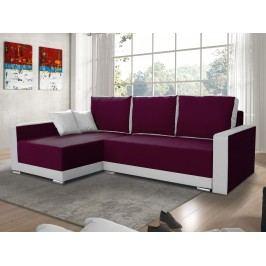Smartshop Rohová sedačka EDEN 5 levá, fialová látka/bílá ekokůže