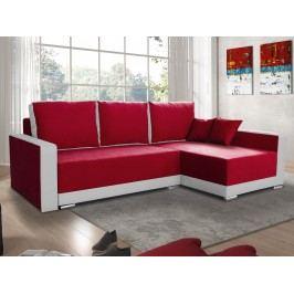 Smartshop Rohová sedačka EDEN 3 pravá, červená látka/bílá ekokůže