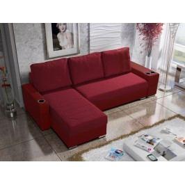 Rohová sedačka ROY 6-246 levá, červená látka/červená ekokůže