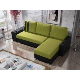 Rohová sedačka ROY 5-266 pravá, zelená látka/černá ekokůže
