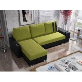 Smartshop Rohová sedačka ROY 5-246 levá, zelená látka/černá ekokůže