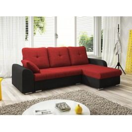 Rohová sedačka DARLA 3-251 pravá, červená látka/černá látka