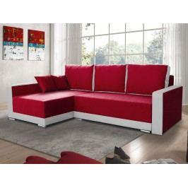 Smartshop Rohová sedačka EDEN 3 levá, červená látka/bílá ekokůže