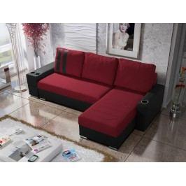 Rohová sedačka ROY 7-246 pravá, červená látka/černá ekokůže