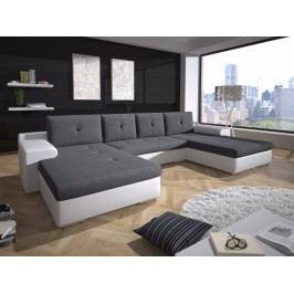 Smartshop Rohová sedačka MILANO 1, šedá látka/bílá ekokůže