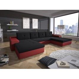 Rohová sedačka MILANO 2, černá látka/červená ekokůže