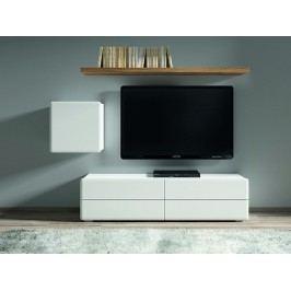 POSSI LIGHT obývací stěna, bílá/bílý lesk