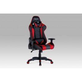 Kancelářská židle KA-F03 RED, červená koženka/černá látka