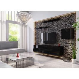 Obývací stěna BOX 16, černá/černý lesk