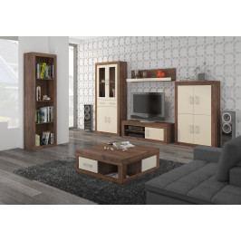 Obývací stěna VERIN 11, craft tobaco/krém