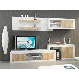 Obývací stěna VERIN 1, craft bílý/craft zlatý